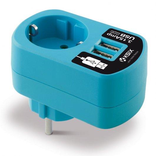 Enchufe con cargador dual usb 3a azul pccomponentes - Enchufe con usb ...