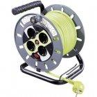 Goobay Enrollacables Electrico de 4 Schuko con Proteccion 25m Verde