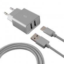 abde5c229e8 Ksix Cargador 2 x USB + Cable USB-C 2.4A Metal
