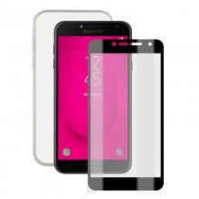 3fdd755e86b Contact Pack Funda Ultrafina Transparente + Protector Cristal Templado para  Samsung Galaxy J4 Plus