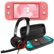 Nintendo Switch Lite Coral + Set Transporte Gris + Headset en PcComponentes