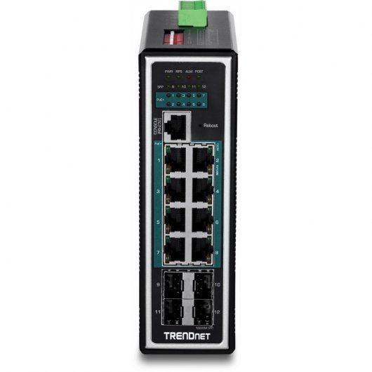 TrendNet TI-PG1284i Switch DIN-Rail Gigabit Industrial 12 Puertos