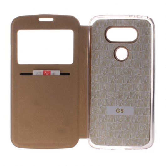Becool Funda Libro View Cover Dorada para LG G5