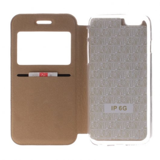 Becool Funda Libro View Cover Dorada para iPhone 6/6S