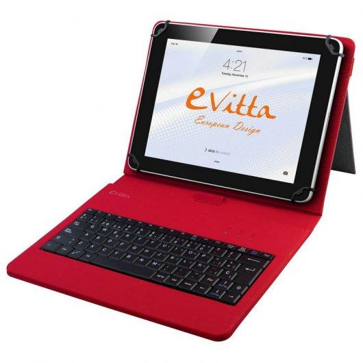 Evitta keytab funda con teclado roja para tablets de 9 7 a 10 1 - Funda tablet con teclado 7 ...