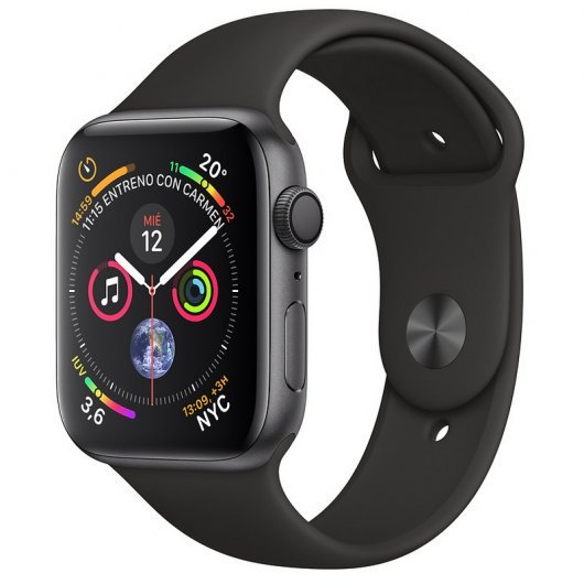 Apple Watch Series 4 GPS 44mm Aluminio Gris Espacial con Correa Deportiva Negra