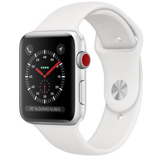 Apple Watch Series 3 GPS + Cellular 42mm Aluminio Plata Con Correa Deportiva Blanca