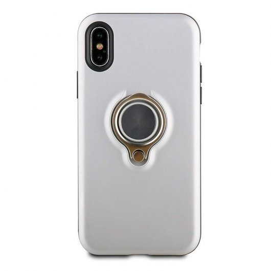 Muvit Ring Magnética Funda Plateada para Apple iPhone X