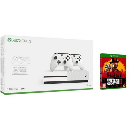 Microsoft Xbox One Consola S 1TB + 2 Mando Wireless + Red Dead Redemption 2