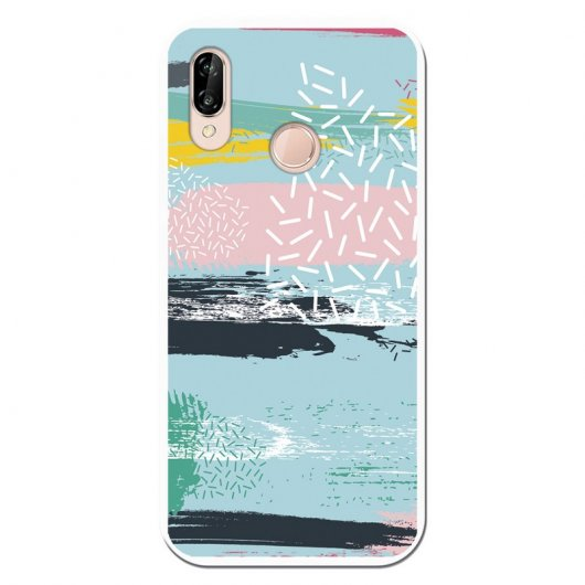 Be Unique Funda Gel Colores Geométricos para Huawei P20 Lite