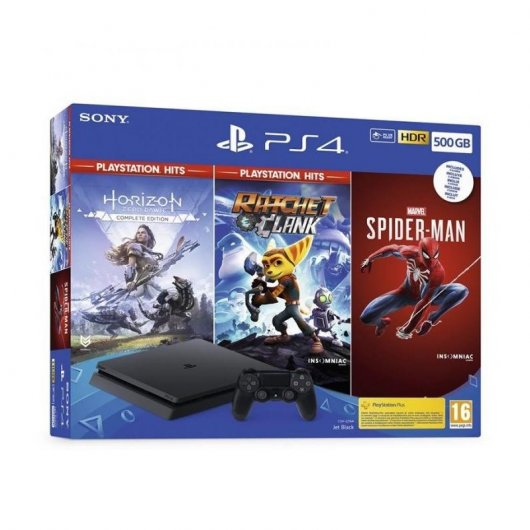 Sony PS4 Slim 500GB + Horizon Zero + Ratchet & Clank + Spider-Man
