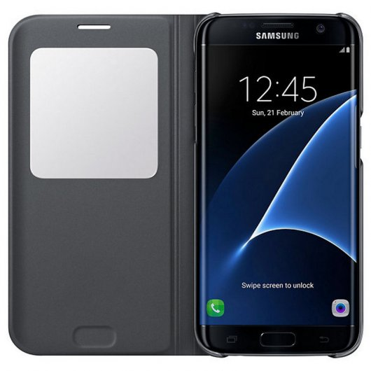 Samsung S View Cover Negra para Galaxy S7 Edge