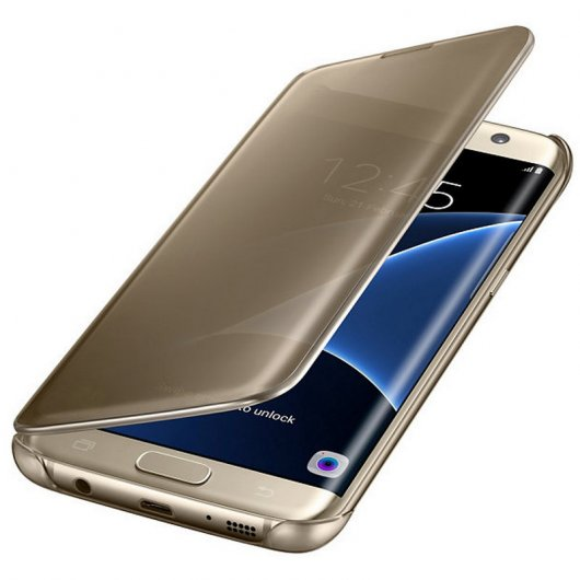 Samsung Clear View Cover Dorada para Galaxy S7 Edge