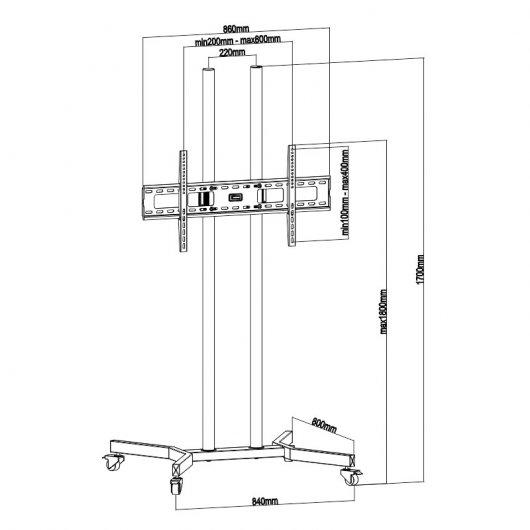 Tooq fs1570m b soporte de suelo con ruedas para monitor tv - Soporte suelo tv ...