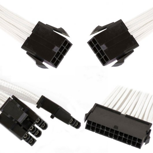 Phanteks Combo Pack Cables Extensión Placa Base 24P/8P/8V Pines Blanco